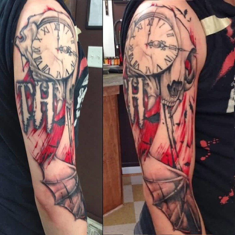 Mind Boggling Brilliant Clock Tattoo Design Make On Sleeve