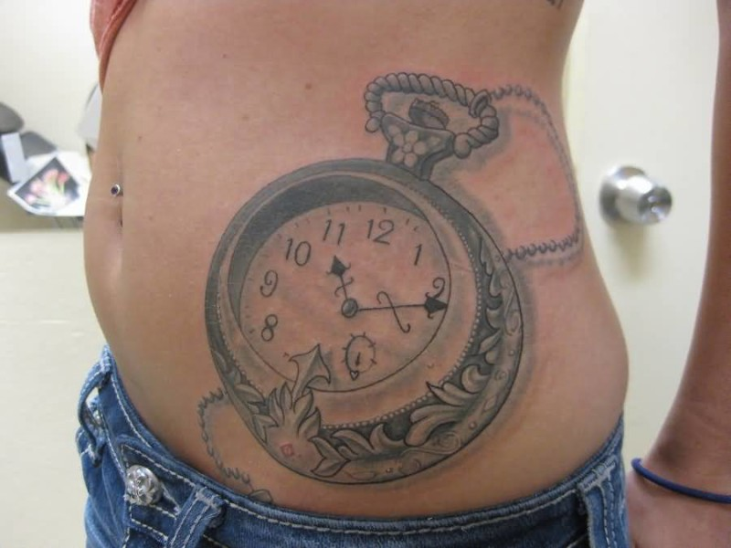 Mind Boggling Clock Women Tattoo Design Make On Belly