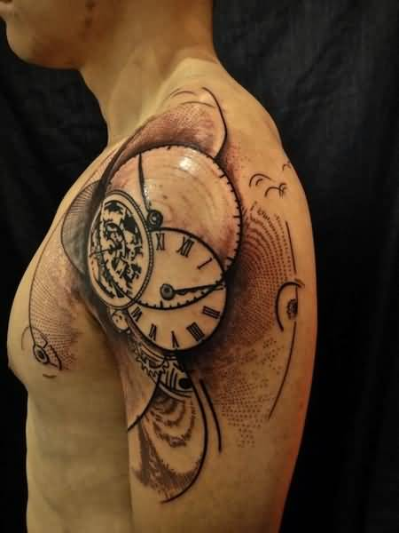 Muscular Men Show Outstanding Clock Tattoo Design Make On Upper Sleeve