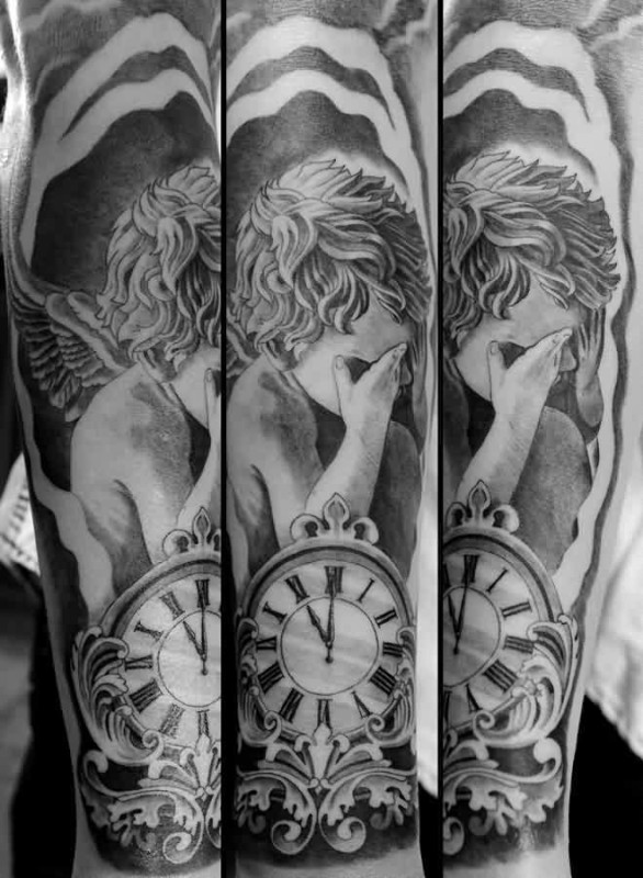 clock sleeve tattoo ideas and clock sleeve tattoo designs page 2. Black Bedroom Furniture Sets. Home Design Ideas