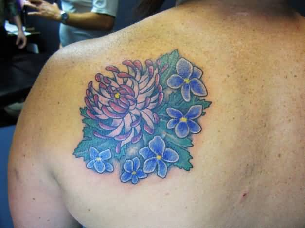 Nice One Side Back Cover Up With Attractive Chrysanthemum With Lovely Blue Tattoo