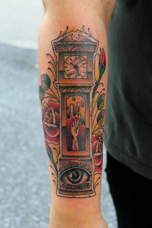 grandfather clock face tattoo. old hand grandfather clock and lovely red roses tattoo on menu0027s lower sleeve face
