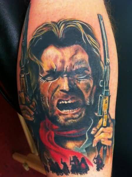 Outstanding Angry Cowboy Face With Gun Tattoo Design Made By Ink