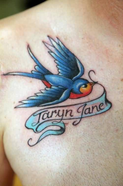 Outstanding Blue Bird And Taryn Jane Banner Tattoo On Chest 4
