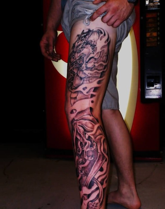 Chinese dragon tattoo ideas and chinese dragon tattoo for Thigh tattoo designs for men
