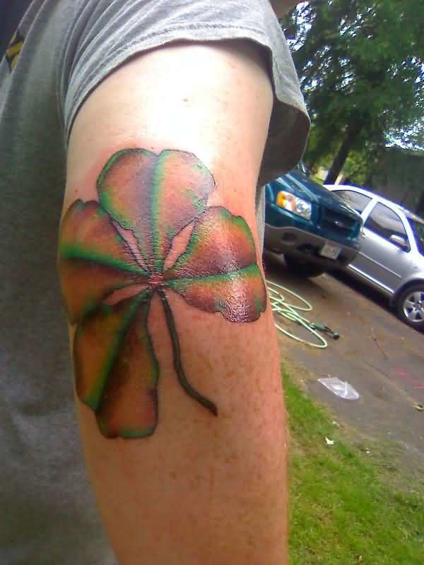 Outstanding Clover Tattoo Design Make On Back Sleeve