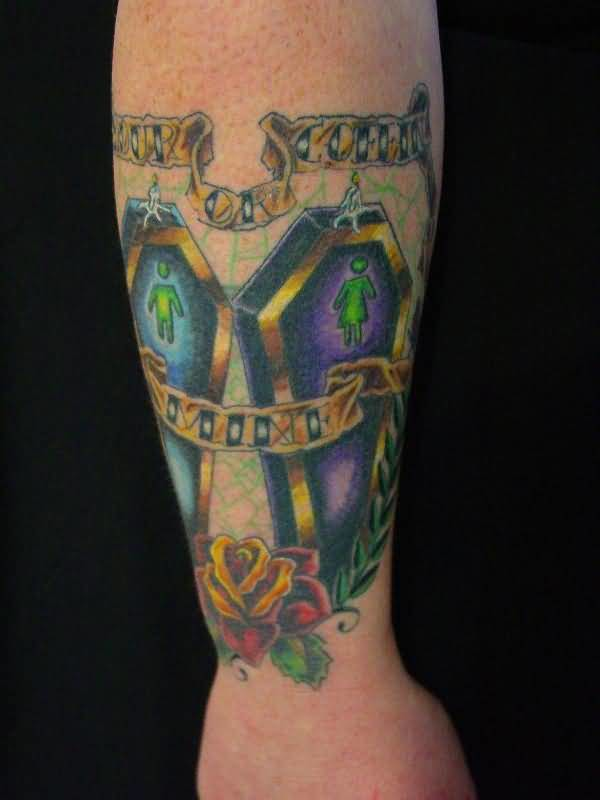 Outstanding Lower Sleeve Cover Up With Fabulous 2 Coffin And Banner Tattoo For Men