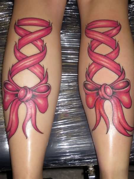 Outstanding Red Bow And Latest Corset Tattoo Design Make On Back Leg