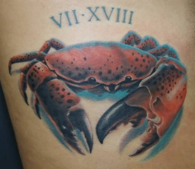 Outstanding  Roman Numeral And Tremendous Crab Tattoo