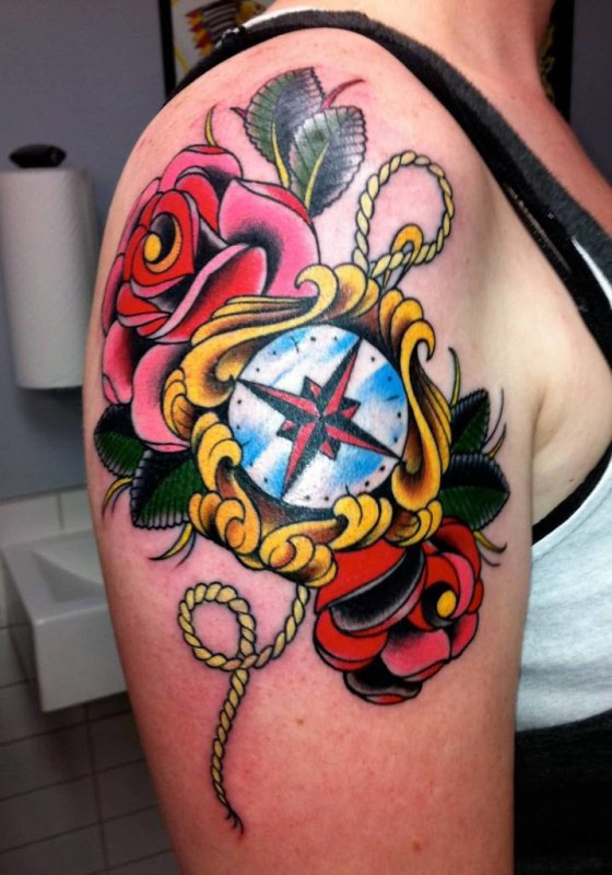 Outstanding Upper Sleeve Cover Up With Beautiful Red Roses And Compass Tattoo For Women