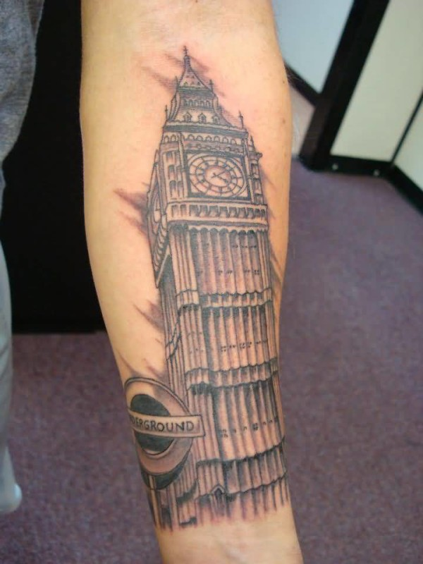 Popular Big Ben Clock Tattoo Design For Lower Sleeve