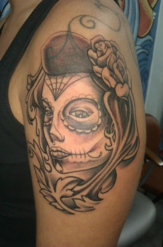 Pretty hot clown latino girl tattoo design made by ink for Chicano clown girl tattoos