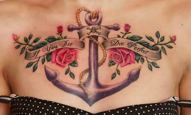 Pretty Women Show Big Anchor And Perfect Die Banner With Lovely Flower Tattoo On Chest 3