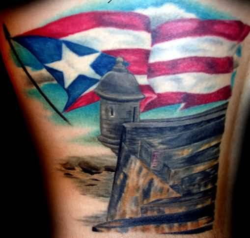 Realistic Glowing Famous Country Flag Tattoo Design
