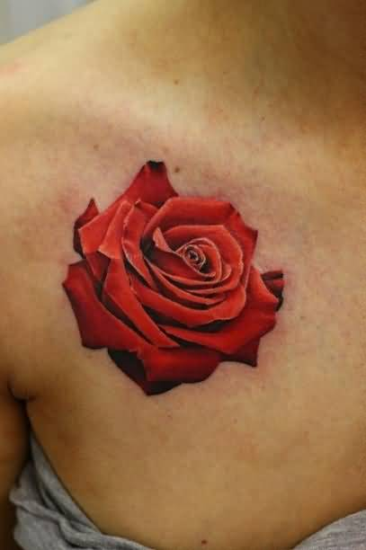Realistic Red Rose Flower Tattoo Design Make On Women's Collarbone
