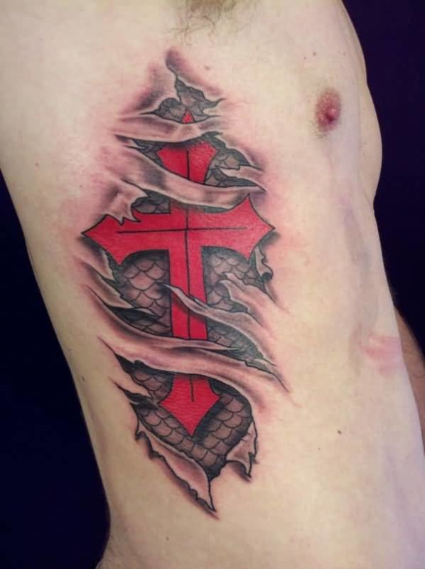 Realistic Ripped Skin Decorated With Outstanding Red Cross Tattoo For Men