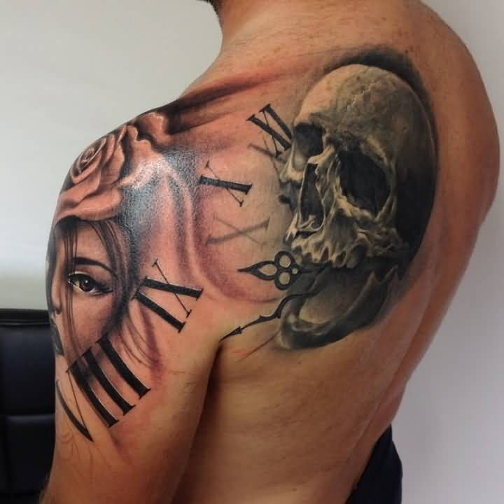 Realistic Skull And  Girl Clock Tattoo Design Make On Shoulder And Upper Sleeve