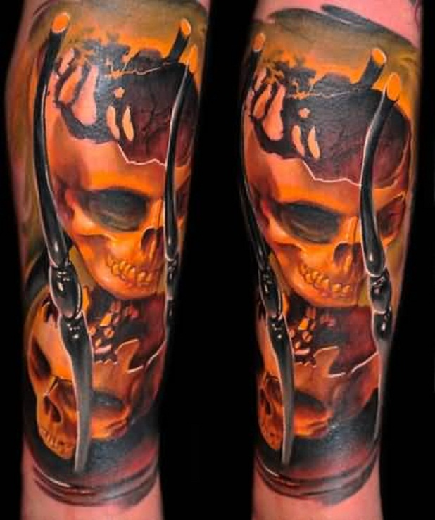 Realistic Yellow Skull Sand Clock Tattoo Design Made By Artist