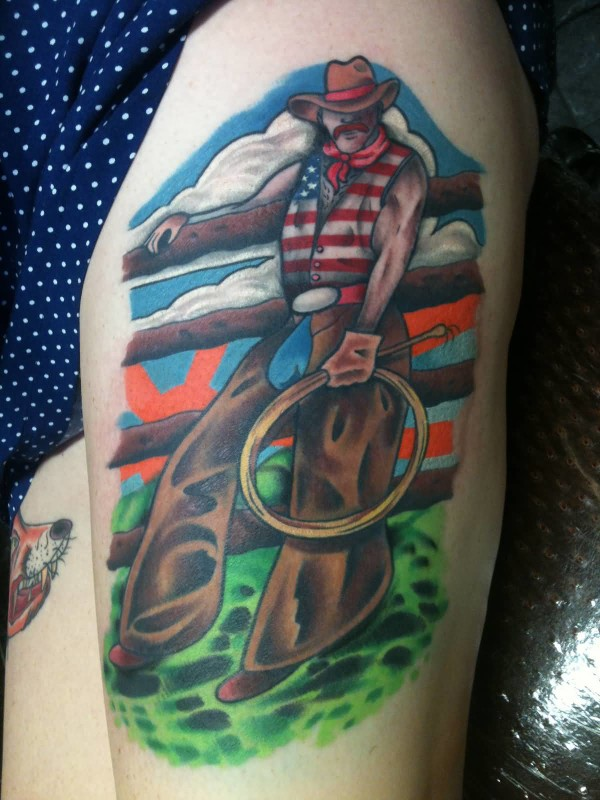 Realsitic Cowboy Tattoo Design Make On Thigh