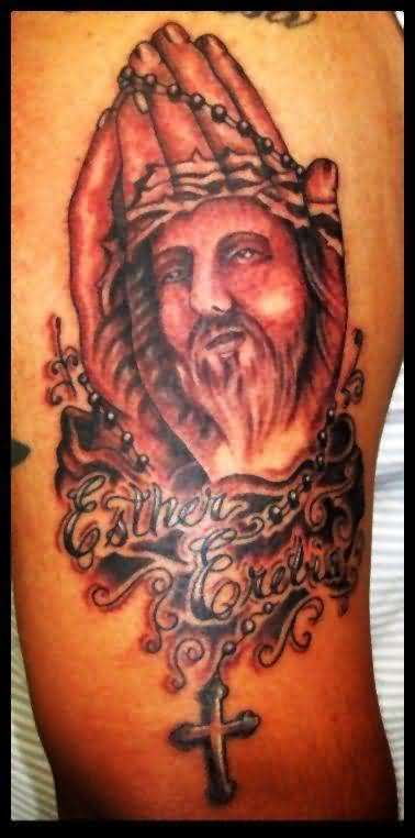 Religious Cross And Praying Jesus Christian Tattoo Design