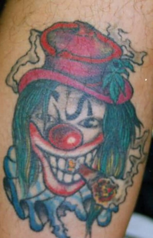 74c291a4d Simple Colorful Smoking Red Nose Joker Clown Face Tattoo Design