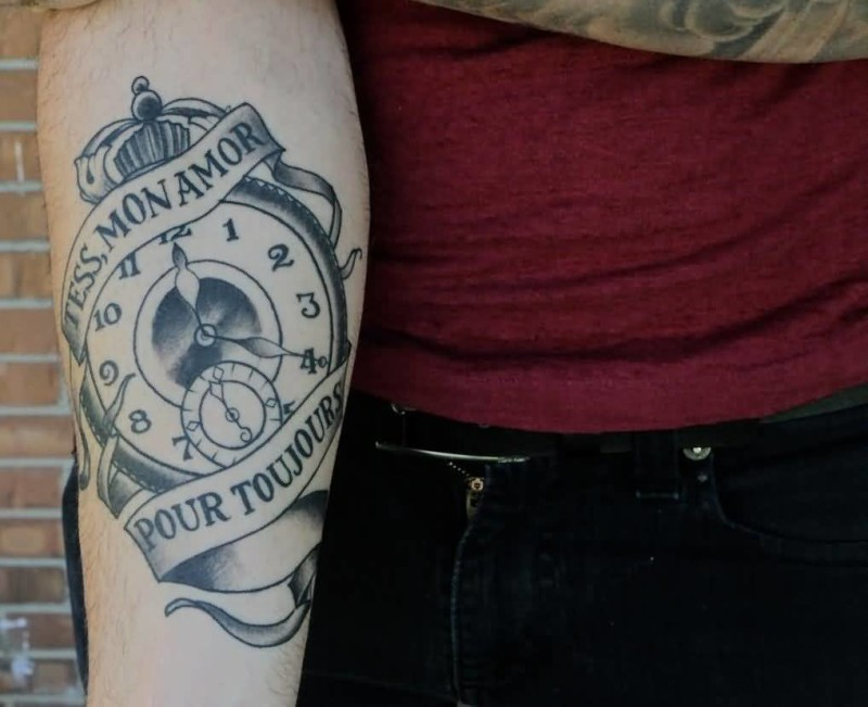 Simple Lower Sleeve Cover Up With Outline Banner And Clock Tattoo