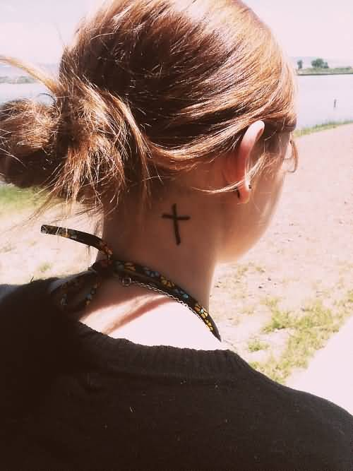 Simple Small Black Cross Tattoo Design Make On Women's Neck