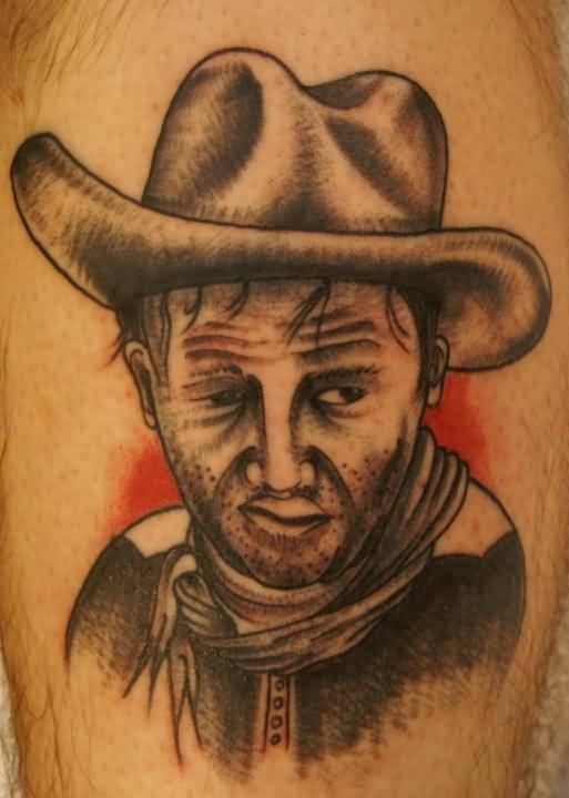 Sweet Crazy Cowboy Face Tattoo Design Made By Ink