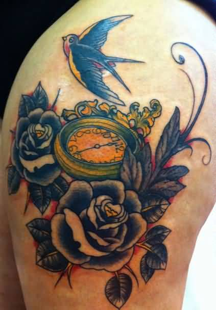 Sweet Flying Birds And Clock Compass With Beautiful Flowers Tattoo On Upper Sleeve