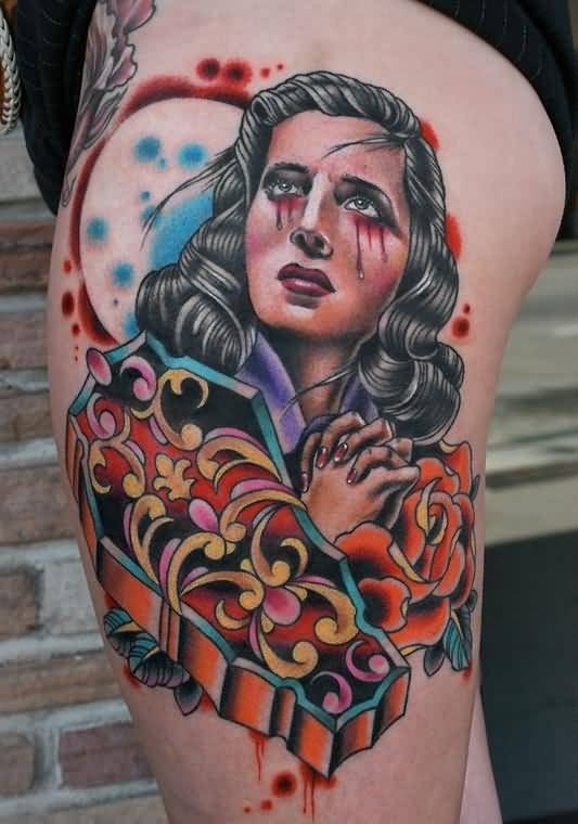 Sweet Praying Girl  And Traditional Old Coffin Tattoo On Women's Thigh