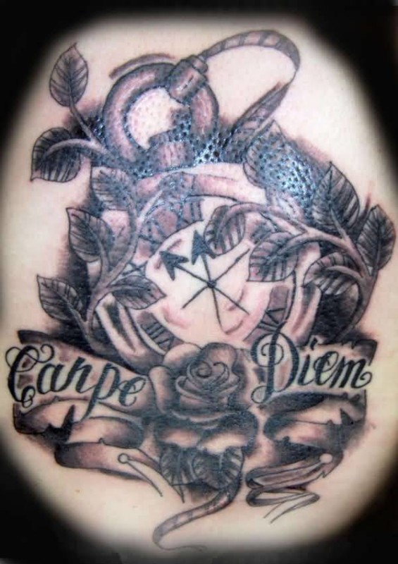 Traditional Old Clock And Carpe Diem Word Tattoo Design