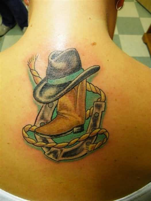 Upper Back Cover  Up With Crazy Cowboy Hat Tattoo With Yellow Rope