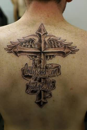 Men Upper Back Cover Up With Simple Oscar Banner And Cross In Wings Tattoo