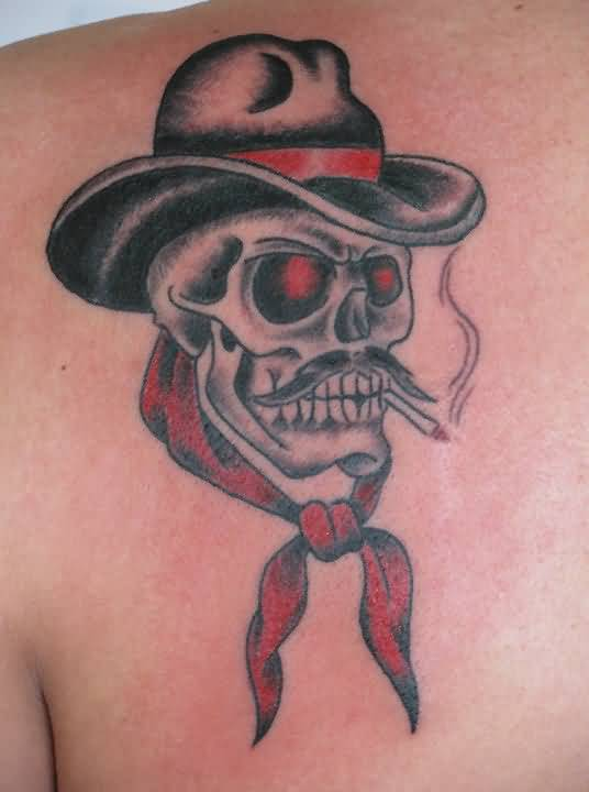 Upper Back Cover Up With Traditional Old Cowboy Skull Tattoo