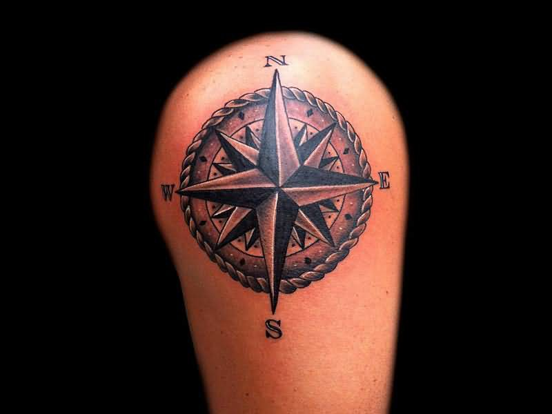 Upper Sleeve Cover Up With Outstanding Big Compass In Circle Tattoo