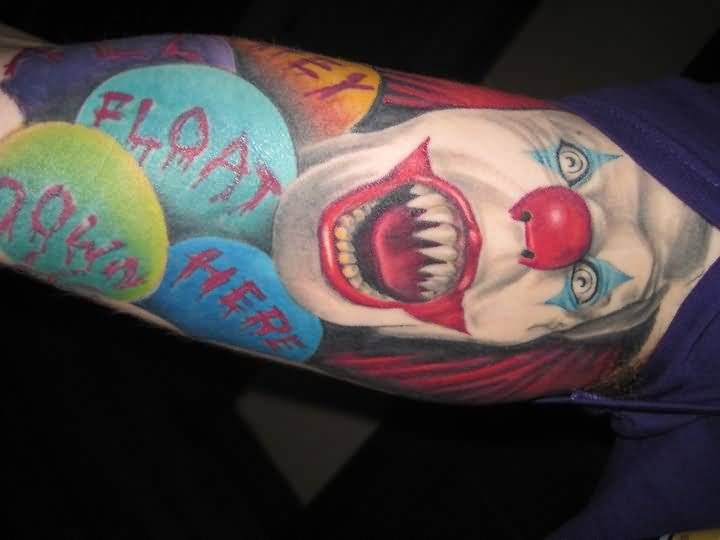 Upper Sleeve Decorated With Outstanding Red Nose Open Mouth Angry Clown Tattoo