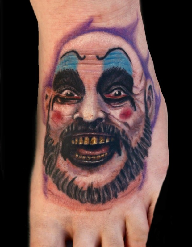 Vintage Big Clown Head Tattoo Design Make On Foot