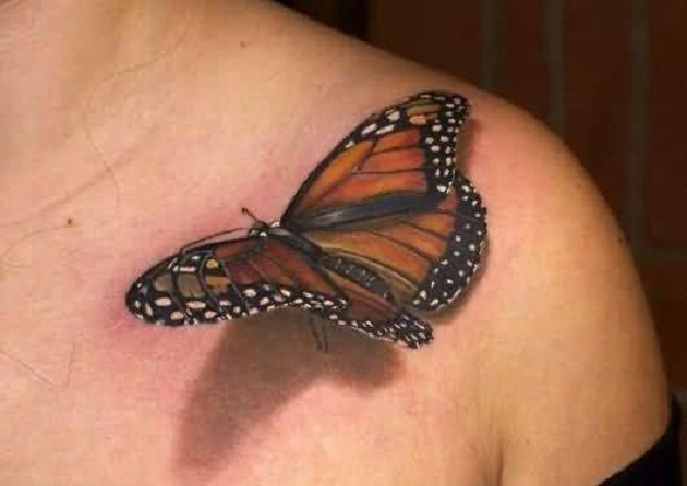 Women Collarbone Cover Up With Realistic 3D Big Butterfly Tattoo