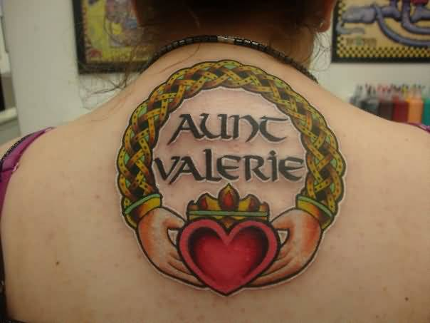 Wonderful Big Celtic Claddagh Tattoo On Women's Upper Back