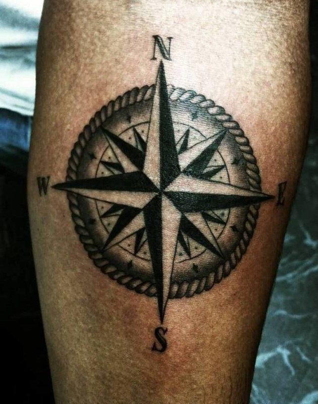 Wonderful Big Feminine Compass Tattoo Design Made By Ink