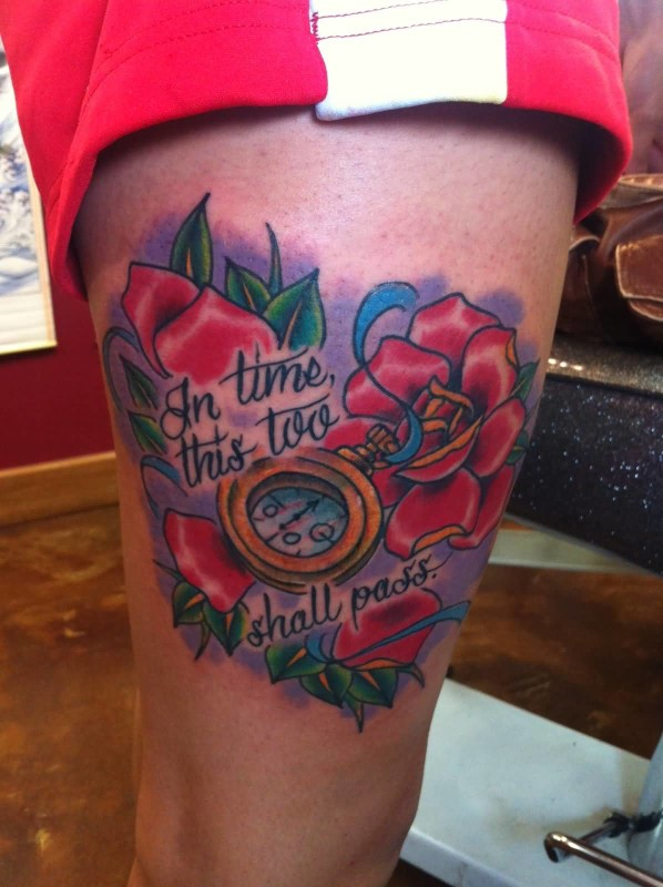 Wonderful Lovely Red Roses Flowers And Compass With Lovely Wording Tattoo On Thigh