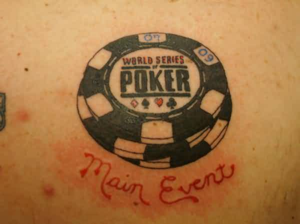 Wonderful Main Event Text And Poker Chip Tattoo Design