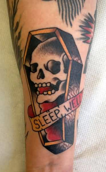Wonderful Old Skull Coffin Tattoo Design Make On Lower Sleeve