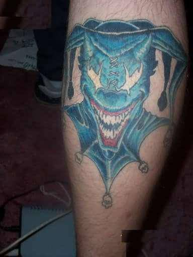 wonderful open mouth blue crazy clown tattoo design. Black Bedroom Furniture Sets. Home Design Ideas