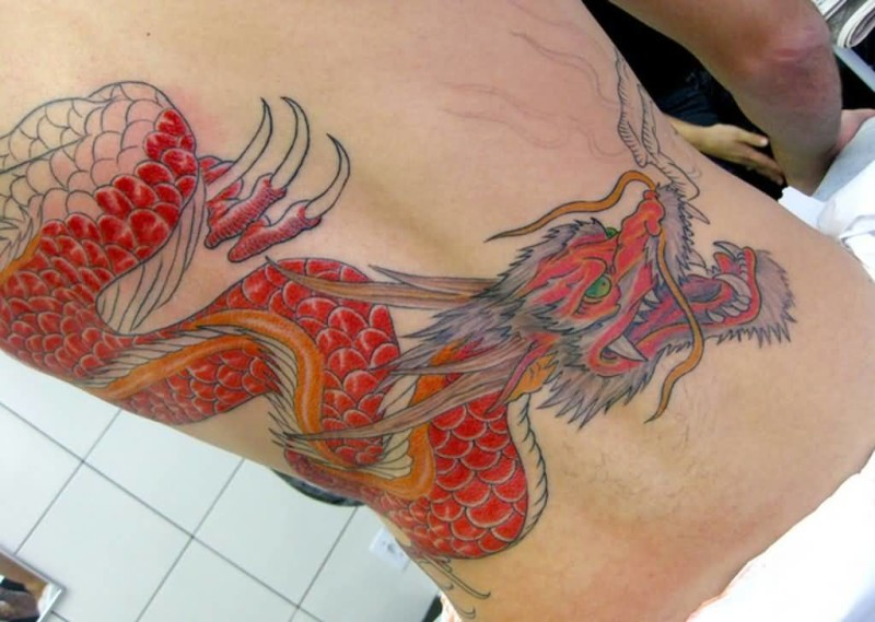 Wonderful Red Chinese Dragon Tattoo On Back 6