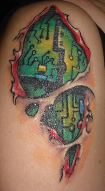 Wonderfula Ripped  Skin Green Chip Tattoo Made By Ink