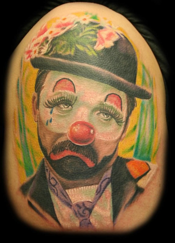 Wonderful Sad Clown Tattoo Design Made By Colorful Ink