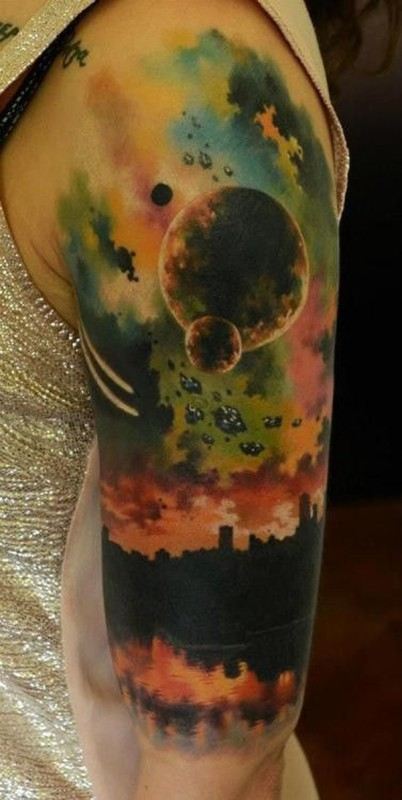 colored-space-hlaf-sleeve-tattoo 87676