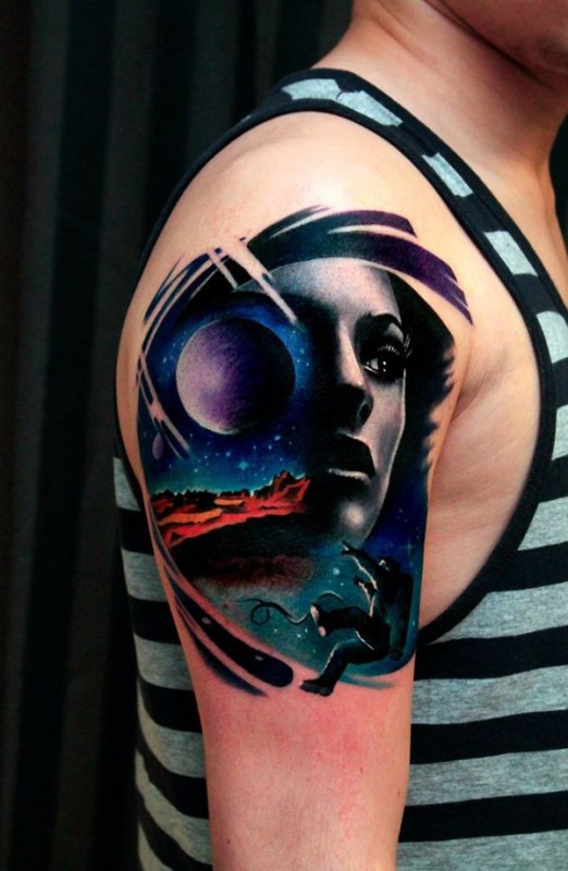 ac6368d37586f Unique Space Tattoo For Men On Upper Arm