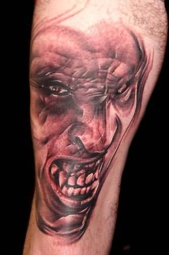Amazing Angry Demon Face Tattoo Made By Perfect Artist